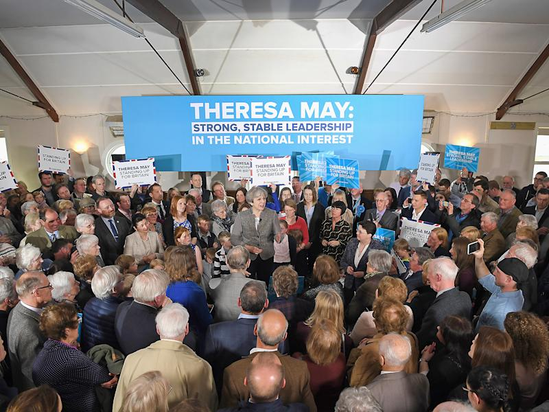 Theresa May made her first appearance in Scotland of the election campaign so far: Getty