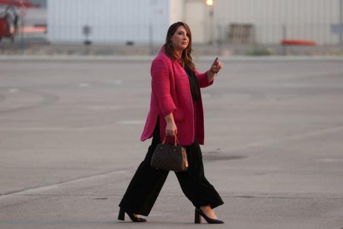 FILE PHOTO: RNC Chair McDaniel walks on the tarmac after arriving with Trump aboard Air Force One in Reno, Nevada