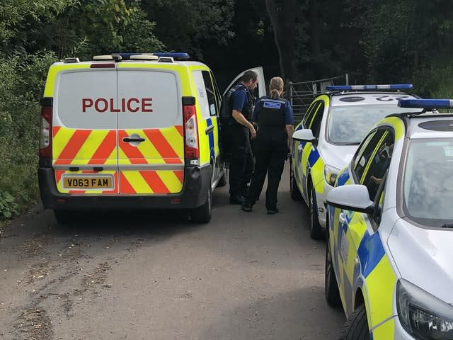 Police at the scene at Brown Clee Hill in Shropshire