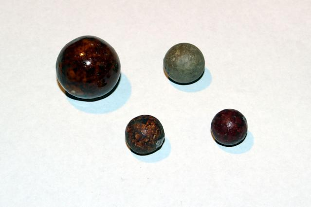 <p>These marbles were found in various locations throughout the building over the years; some were under the floorboards in kitchens of apartments on the fourth floor in 2008; others were found in the basement and second floor of 97 Orchard St. in 1994 and 1995. (Photo: Caters News) </p>