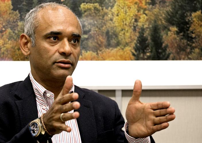 """Chet Kanojia speaks during a 2014 interview with the Associated Press in New York. <span class=""""copyright"""">(Mark Lennihan / Associated Press)</span>"""