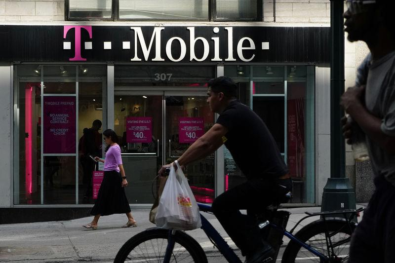 A T-Mobile store is pictured in the Manhattan borough of New York
