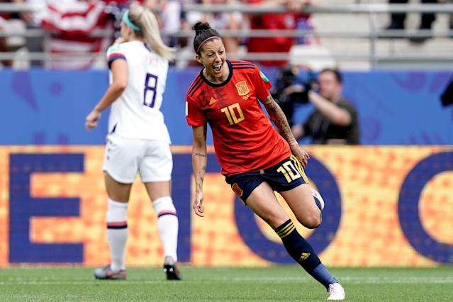 Jennifer Hermoso of Spain Women celebrates her equaliser (Photo by Geert van Erven/Soccrates/Getty Images)