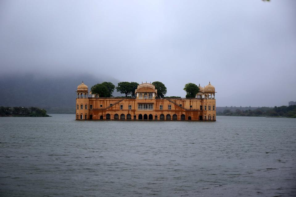 A view of Jal Mahal  covered by clouds during a Rainy day in Jaipur, Rajasthan, India, on May 19, 2021. (Photo by Vishal Bhatnagar/NurPhoto via Getty Images)