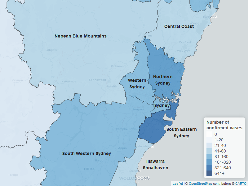 A map of NSW showing areas affected by coronavirus.