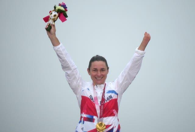 Great Britain's Dame Sarah Storey celebrates winning the gold medal in the women's C4-5 road race at the Fuji International Speedway during day nine of the Tokyo 2020 Paralympic Games in Japan