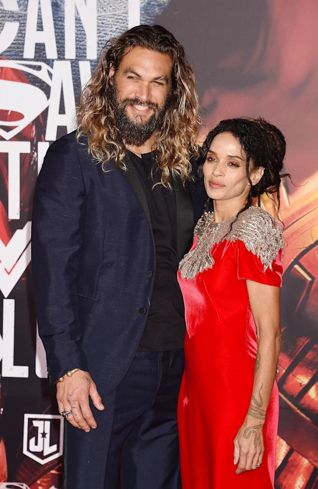 "Jason Momoa and Lisa Bonet arrive at the ""Justice League"" premiere. (Photo: Jeffrey Mayer/WireImage)"