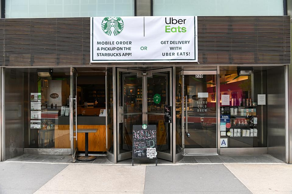 NEW YORK, NEW YORK - APRIL 23: Starbucks has started opening up locations across New York for mobile orders during the COVID-19 pandemic on April 23, 2020 in New York City. COVID-19 has spread to most countries around the world, claiming over 190,000 lives with over 2.7 million cases confirmed. (Photo by Ben Gabbe/Getty Images)