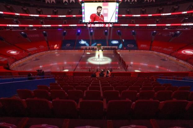 On Saturday, Montreal's Bell Centre will welcome back a limited number of fans to cheer on the Canadiens for Game 6 of their playoff series against the Maple Leafs.   (Paul Chiasson/The Canadian Press - image credit)
