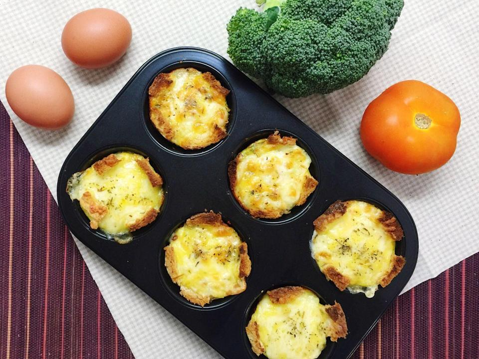"""<p>When done right, meal prep can change your whole life. Take an hour out of your day on a Sunday to make a batch of egg muffins so that you can have them for a delicious and healthy breakfast each morning. They don't take much time to make, and then you can simply heat them up in the morning and enjoy. Not to mention they're also perfect for people on the go. Here's <a href=""""https://www.delish.com/cooking/recipe-ideas/a25563943/egg-muffins-recipe/"""" rel=""""nofollow noopener"""" target=""""_blank"""" data-ylk=""""slk:one simple recipe from Delish"""" class=""""link rapid-noclick-resp"""">one simple recipe from Delish</a>, but there are about a million different ways to make these.</p>"""