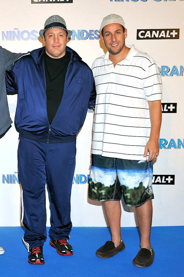 "Kevin James and Adam Sandler have never been known to don suave ensembles, but we thought the guys could have put a little more (OK, a lot more) effort into their looks before hitting up the Spanish premiere of their buddy comedy, ""Grown Ups."" href=""http://www.wireimage.com"" target=""new"">WireImage.com - July 28, 2010"