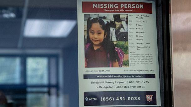 PHOTO: A missing poster of 5-year old Dulce Maria Alavez is shown posted on the window of the Bridgeton Police department in Bridgeton, N.J., September 18, 2019. (Jose F. Moreno/The Philadelphia Inquirer/TNS via Newscom)