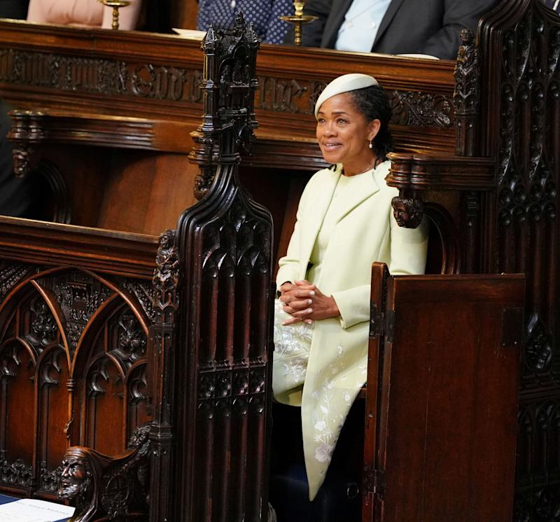 Doria Ragland takes her seat in St. George's Chapel.