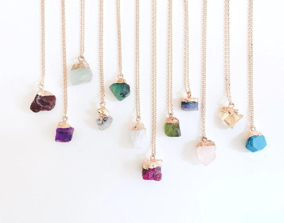 <p>The <span>Personalized Raw Crystal Necklace</span> ($24, originally $28) are gorgeous and stunning!</p>