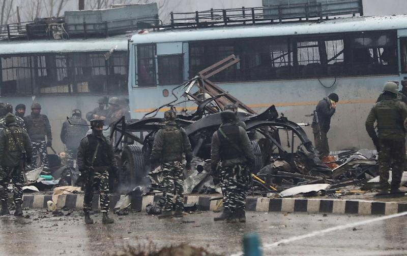 Pakistan-based militants claimed responsibility for the February 14 suicide bomb attack which killed 40 Indian paramilitaries (AFP Photo/STR)