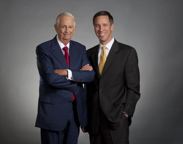 This undated photo provided by Marriott International Inc., shows outgoing Marriott International CEO , J.W. Marriott Jr. (left) and his replacement, Arne Sorenson who will be only the third CEO in the company's 85-year-history and the first one not named Marriott. (AP Photo/Marriott International Inc.)