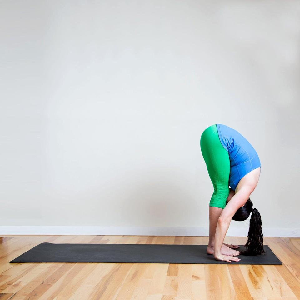<p><strong>Sanskrit Name:</strong> Uttanasana </p> <p><strong>English Translation:</strong> Intense Stretch Pose </p> <p><strong>Also Called:</strong> Standing Forward Bend </p> <ul> <li>Begin in Mountain Pose at the front of your mat. Inhale and reach your arms straight above you.</li> <li>As you exhale, engage your abs and fold forward with a straight back. Tuck your chin in toward your chest, relax your shoulders, and extend the crown of the head toward the floor to create a long spine. Shift your weight forward onto your toes, straightening the legs as much as possible. Place your hands on the ground, fingertips lining up with the toes.</li> <li>Hold here for five breaths.</li> </ul>