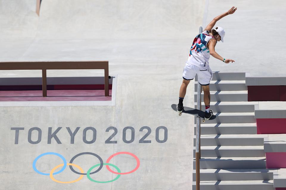 <p>TOKYO, JAPAN - JULY 25: Jagger Eaton of Team USA competes at the Skateboarding Men's Street Finals on day two of the Tokyo 2020 Olympic Games at Ariake Urban Sports Park on July 25, 2021 in Tokyo, Japan. (Photo by Dan Mullan/Getty Images)</p>