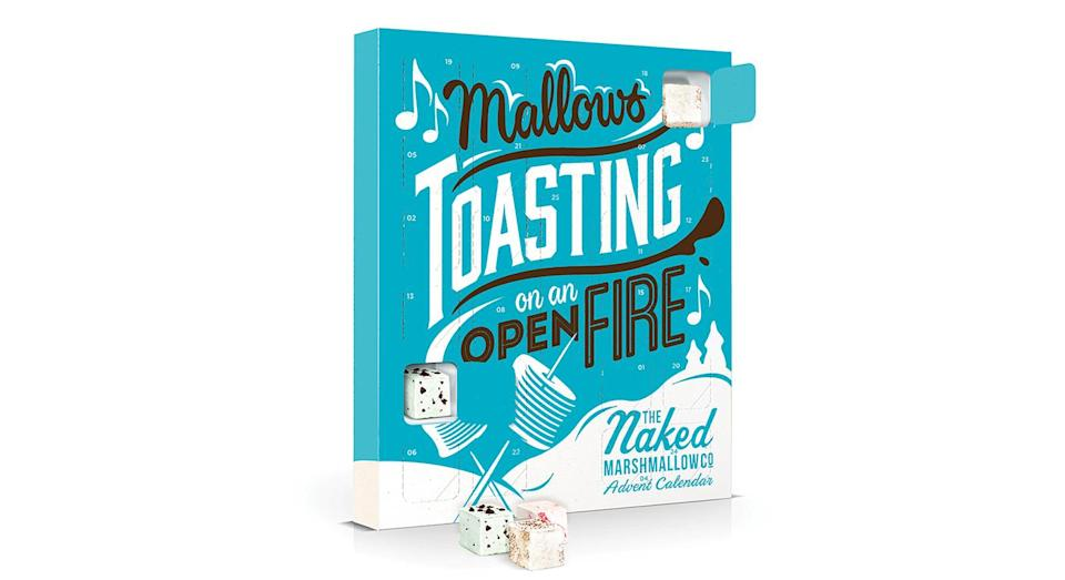 """<p>The Naked Marshmallow Co. advent calendar is back for another year. Each door reveals a festive flavoured marshmallow with an extra special surprise behind the Christmas Day door. For and additional £3.95, you can upgrade your advent calendar to include a marshmallow toaster and bamboo skewers for gooey marshmallows in seconds. Available from <a rel=""""nofollow noopener"""" href=""""https://nakedmarshmallow.co.uk/product/marshmallow-advent-calendar/"""" target=""""_blank"""" data-ylk=""""slk:Naked Marshmallow Co"""" class=""""link rapid-noclick-resp""""><em>Naked Marshmallow Co</em></a>. </p>"""