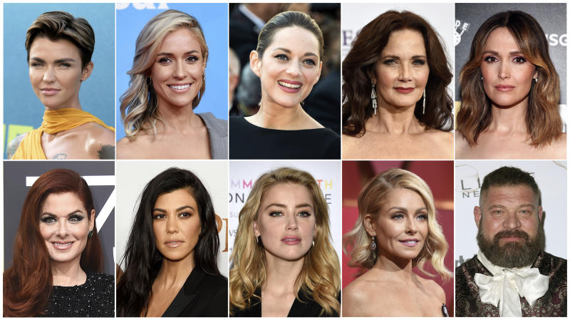 "This combination photo shows, top row from left, Ruby Rose, Kristin Cavallari, Marion Cotillard, Lynda Carter, Rose Byrne, bottom row from left, Debra Messing, Kourtney Kardashian, Amber Heard, Kelly Ripa and Brad William Henke who are likely to land users on websites that carry viruses or malware. Cybersecurity firm McAfee crowned Rose the most dangerous celebrity on the internet. Reality TV star, Cavallari finished behind Rose at No. 2, followed by Cotillard (No. 3), the original ""Wonder Woman"" Carter (No. 4), Byrne (No. 5), Messing (No. 6), reality TV star Kardashian (No. 7), actress Heard (No. 8), morning TV show host Ripa (No. 9), and actor Henke as No 10. (AP Photo)"
