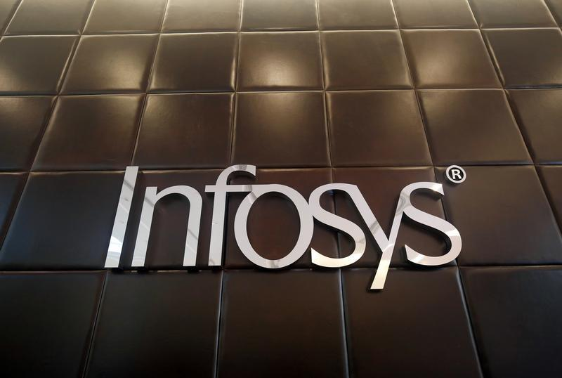 The logo of Infosys is pictured inside the company's headquarters in Bengaluru
