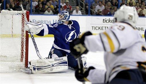 Buffalo Sabres right wing Jason Pominville (29) scores past Tampa Bay Lightning goalie Dustin Tokarski (40) during the first period of an NHL hockey game, Monday, March 19, 2012, in Tampa, Fla. (AP Photo/Chris O'Meara)