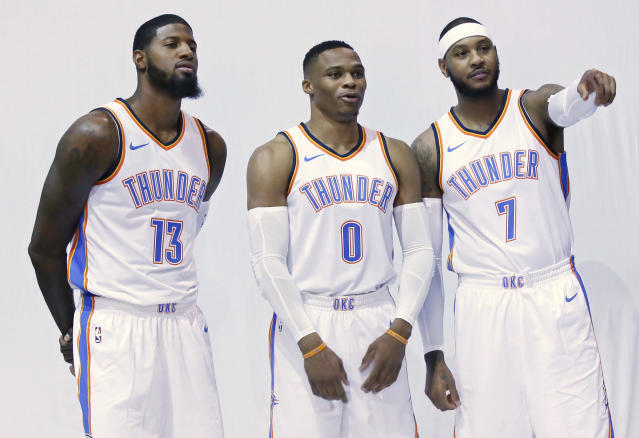 "The <a class=""link rapid-noclick-resp"" href=""/nba/teams/okc/"" data-ylk=""slk:Oklahoma City Thunder"">Oklahoma City Thunder</a> have their new Big Three. Can they reach greater heights than the previous version? (AP)"