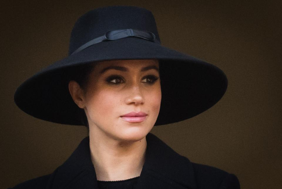 LONDON, ENGLAND - NOVEMBER 10: Meghan, Duchess of Sussex attends the annual Remembrance Sunday memorial at The Cenotaph on November 10, 2019 in London, England.  (Photo by Samir Hussein/WireImage)