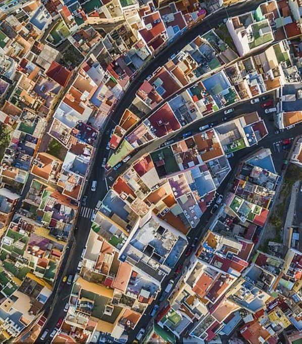 The colourful roofs of Gran Canaria Island shot by Sebastien Nagy won the cityscapes category (Picture: Sebastien Nagy)