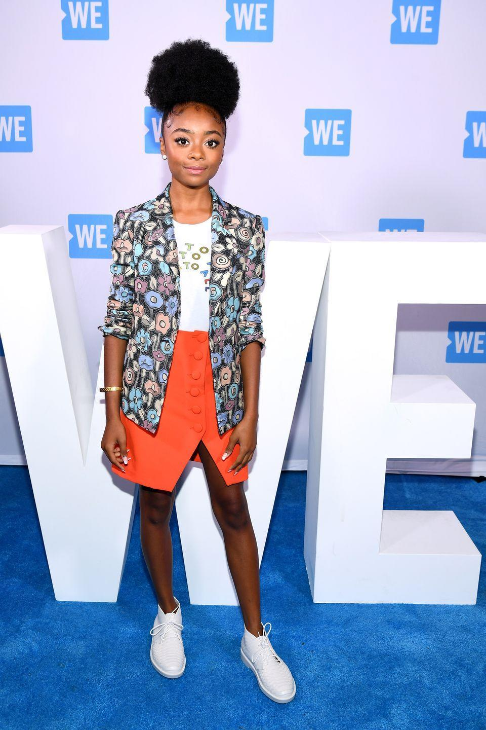 """<p>To secure the bag on that """"Most Likely to Become President"""" superlative, you've gotta put in the work. Which means, four years of professional-chic looks that slay. This printed look, paired with funky boots, nails that vibe completely. </p>"""