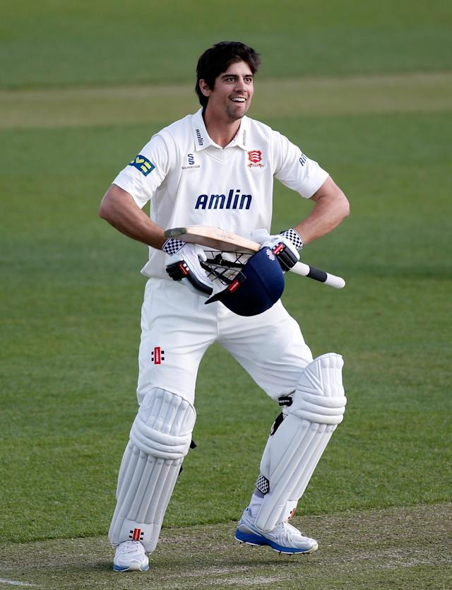 CHELMSFORD, ENGLAND - APRIL 14: Alastair Cook of Essex celebrates reaching his century during day two of the LV County Championship Division Two match between Essex and Derbyshire at the Ford County Ground on April 14, 2014 in Chelmsford, England. (Photo by Harry Engels/Getty Images)