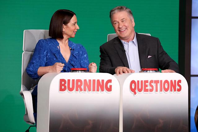 <p>Guest host Alec Baldwin jokes around with guest star Maya Rudolph in a pre-taped segment for <em>The Ellen DeGeneres Show</em>, airing Monday from Burbank, California.</p>