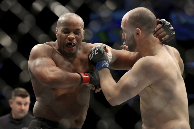 UFC light heavyweight champion Daniel Cormier retained his title with a win over Volkan Oezdemir on Saturday night. (AP Photo)