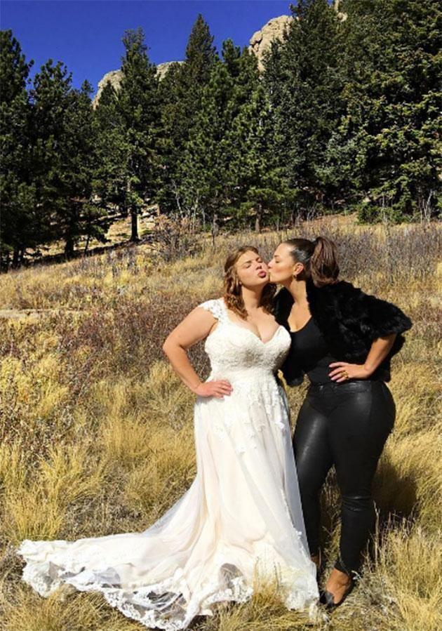 Supermodel Ashley Graham wore leather trousers to her sister's wedding. Photo: Instagram/theashleygraham