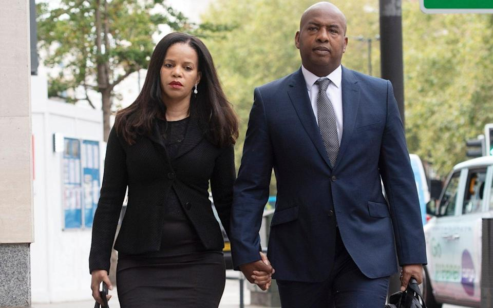 Claudia Webbe arrived at Westminster Magistrates Court, with her partner Lester Thomas, to hear the verdict being passed - Geoff Pugh for The Telegraph