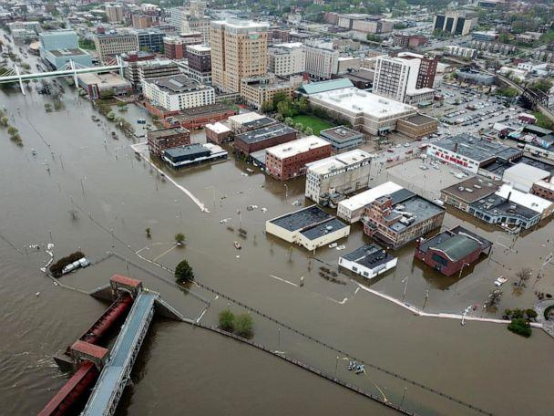 PHOTO: An aerial view of flooding in Davenport, Iowa, April 30, 2019. (Social Media/QC DRONE via Rueters)