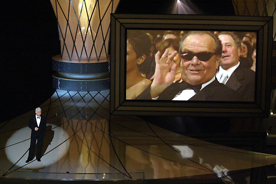 Host Steve Martin with Jack Nicholson on the screen at the 75th Annual Academy Awards at the Kodak Theater in Hollywood, Calif, on Sunday, March 23, 2003. LOS ANGELES TIMES PHOTO BY ^^^  (Photo by Brian Vander Brug/Los Angeles Times via Getty Images)