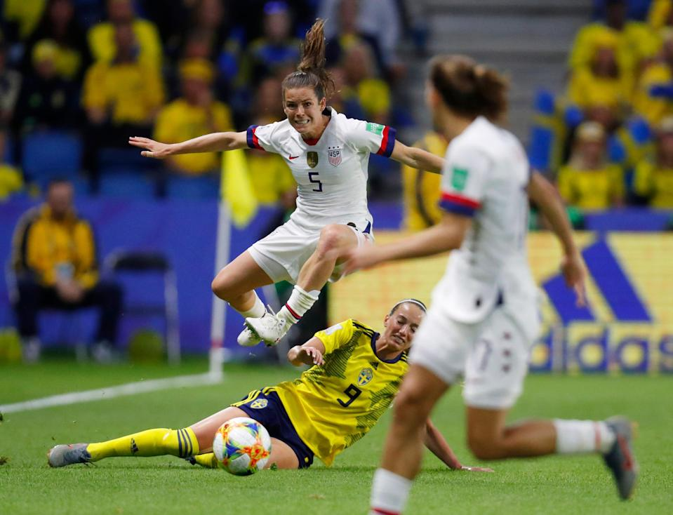 Kelley O'Hara (5) and the USWNT has found a constant foe in Kosovare Asllani (9) and Sweden.