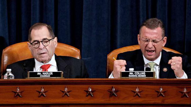 PHOTO: Representative Doug Collins, right, speaks as chairman Jerry Nadler, listens during a House Judiciary Committee markup of the articles of impeachment against President Donald Trump, on Capitol Hill, Dec. 12, 2019, in Washington, D.C. (Andrew Harrer/Pool via Reuters)