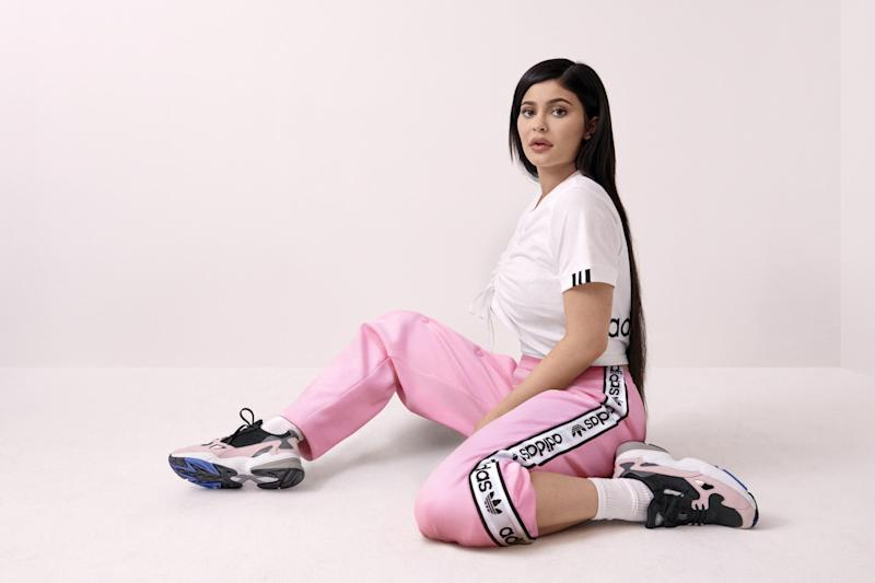 Kylie Jenner stars in the latest Adidas campaign, for the launch of the nostalgic Falcon trainer