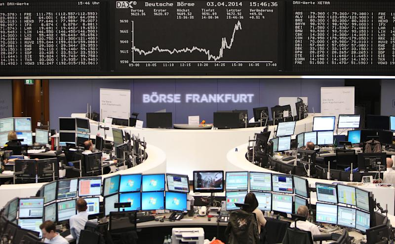 Frankfurt's benchmark DAX 30 index added 0.93 percent to 9,281.05 points in Monday afternoon trading, despite official data showing a slump in German industrial orders in August