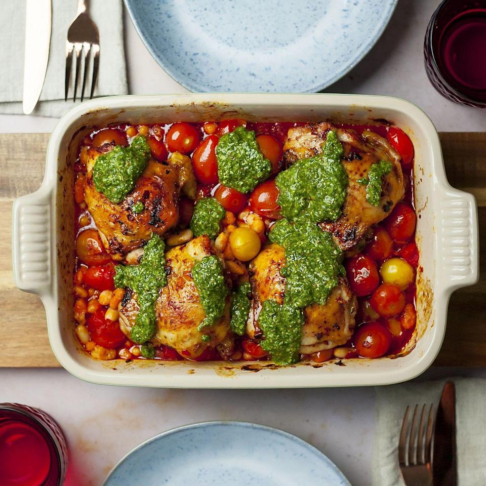 """<p>The salsa verde in this recipe adds freshness and colour as well as flavour. It's the ideal midweek meal as it's light and quick to prepare.</p><p><strong>Recipe: <a href=""""https://www.goodhousekeeping.com/uk/food/recipes/a31043110/chorizo-chicken-traybake/"""" rel=""""nofollow noopener"""" target=""""_blank"""" data-ylk=""""slk:Chorizo and Cannellini Bean Chicken Traybake"""" class=""""link rapid-noclick-resp"""">Chorizo and Cannellini Bean Chicken Traybake</a></strong></p>"""