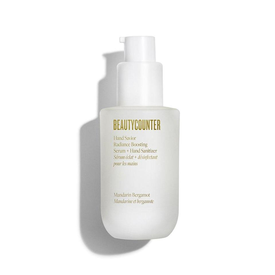 """<p>Beautycounter's Hand Savior Radiance Boosting Serum + Hand Sanitizer isn't a regular sanitizer — it's a cool sanitizer. Let us explain. As its name suggests, it doubles as a nourishing hand serum that helps brighten and even skin tone (because our hands should be privy to the <a href=""""https://www.allure.com/story/best-hand-care-treatments?mbid=synd_yahoo_rss"""" rel=""""nofollow noopener"""" target=""""_blank"""" data-ylk=""""slk:same level of care"""" class=""""link rapid-noclick-resp"""">same level of care</a> we put towards our faces) with a robust concentration of <a href=""""https://www.allure.com/story/best-vitamins-for-skin?mbid=synd_yahoo_rss"""" rel=""""nofollow noopener"""" target=""""_blank"""" data-ylk=""""slk:niacinamide"""" class=""""link rapid-noclick-resp"""">niacinamide</a>. It also dries down almost instantly, so you don't have to worry about any greasy residue.</p> <p>This hybrid, skin-loving formula is why the price tag is a little steeper than most sanitizers on the market, but we assure you, it's worth it. As a bonus, it gives off subtle hints of mandarin and bergamot. And, of course, 60 percent sugar-derived alcohol meets the CDC's standards.</p>"""