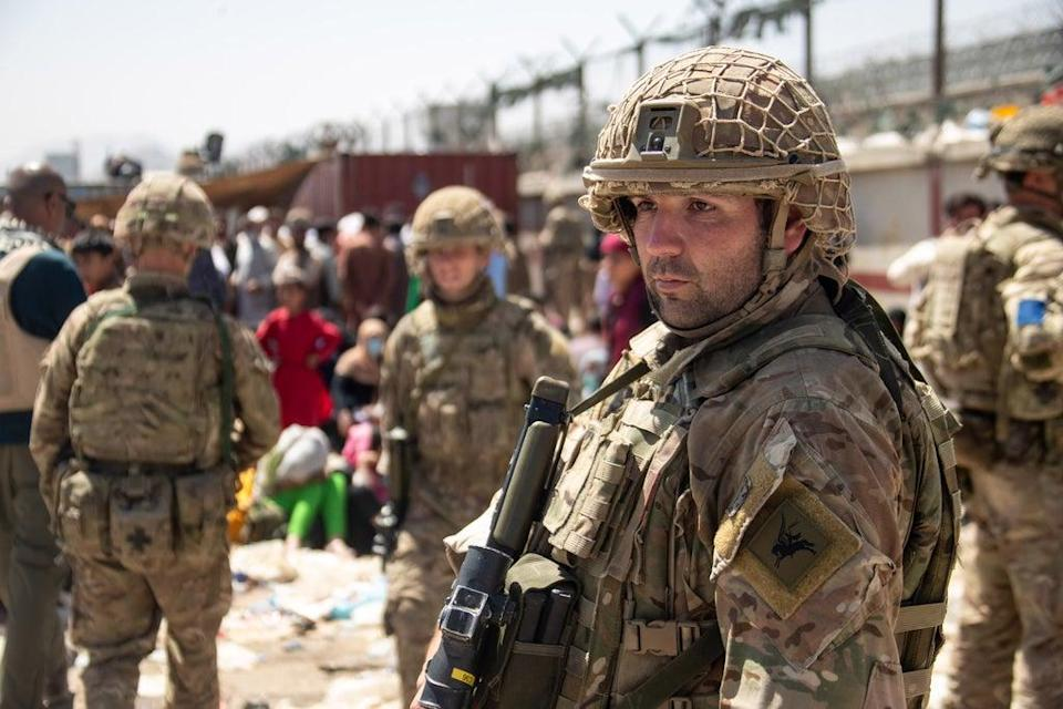 Members of the UK Armed Forces who continue to take part in the evacuation of entitled personnel from Kabul airport. (LPhot Ben Shread/MoD/PA) (PA Media)