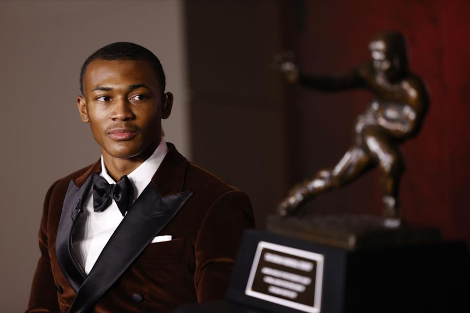Heisman Trophy winner DeVonta Smith will hear his name called in the first round of next week's draft. (Photo by Kent Gidley/Heisman Trophy Trust via Getty Images)