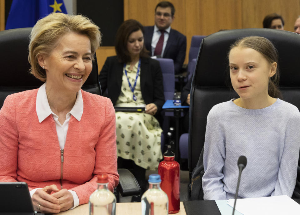 Swedish climate activist Greta Thunberg, right, and European Commission President Ursula von der Leyen attend the weekly College of Commissioners meeting at EU headquarters in Brussels, Wednesday, March 4, 2020. European Commission President Ursula von der Leyen, who has put climate change at the top of her priorities and pledged to make Europe the first climate neutral continent by 2050, will present her plans on Wednesday. (AP Photo/Virginia Mayo)