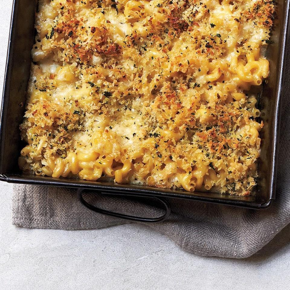 """Skip a step when making mac and cheese by not precooking the pasta. Instead, mix the dried pasta with a thinner-than-usual béchamel sauce, and it will bake perfectly in just 30 minutes. <a href=""""https://www.epicurious.com/recipes/food/views/no-boil-mac-and-cheese-51140420?mbid=synd_yahoo_rss"""" rel=""""nofollow noopener"""" target=""""_blank"""" data-ylk=""""slk:See recipe."""" class=""""link rapid-noclick-resp"""">See recipe.</a>"""