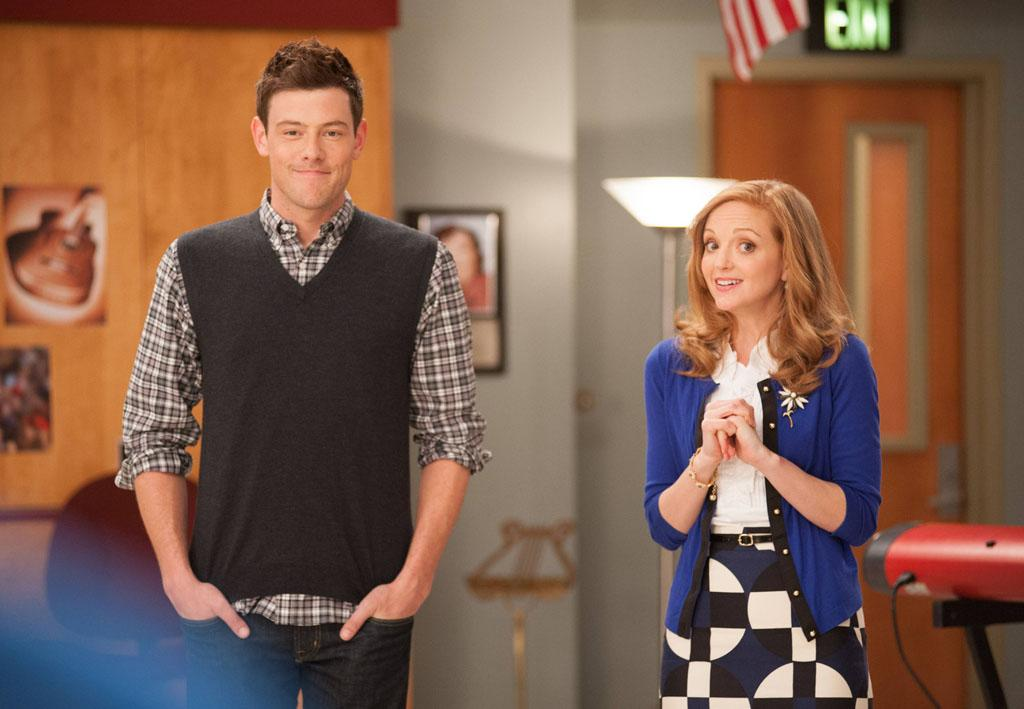 """Finn (Cory Monteith) and Emma (Jayma Mays) challenge the glee club to find their inner powerhouses for """"Diva Week"""" in the """"Diva"""" episode of """"Glee."""""""