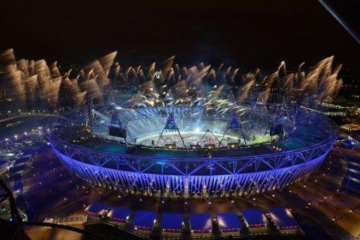 Fireworks light up the sky during the opening ceremony of the London 2012 Olympic Games in London