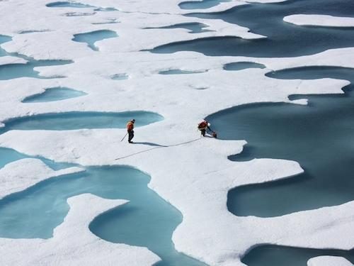 The dark teal waters of the melt ponds atop Arctic sea ice stand in stark contrast to the bright white of the ice and snow in this photo taken on July 12, 2011.